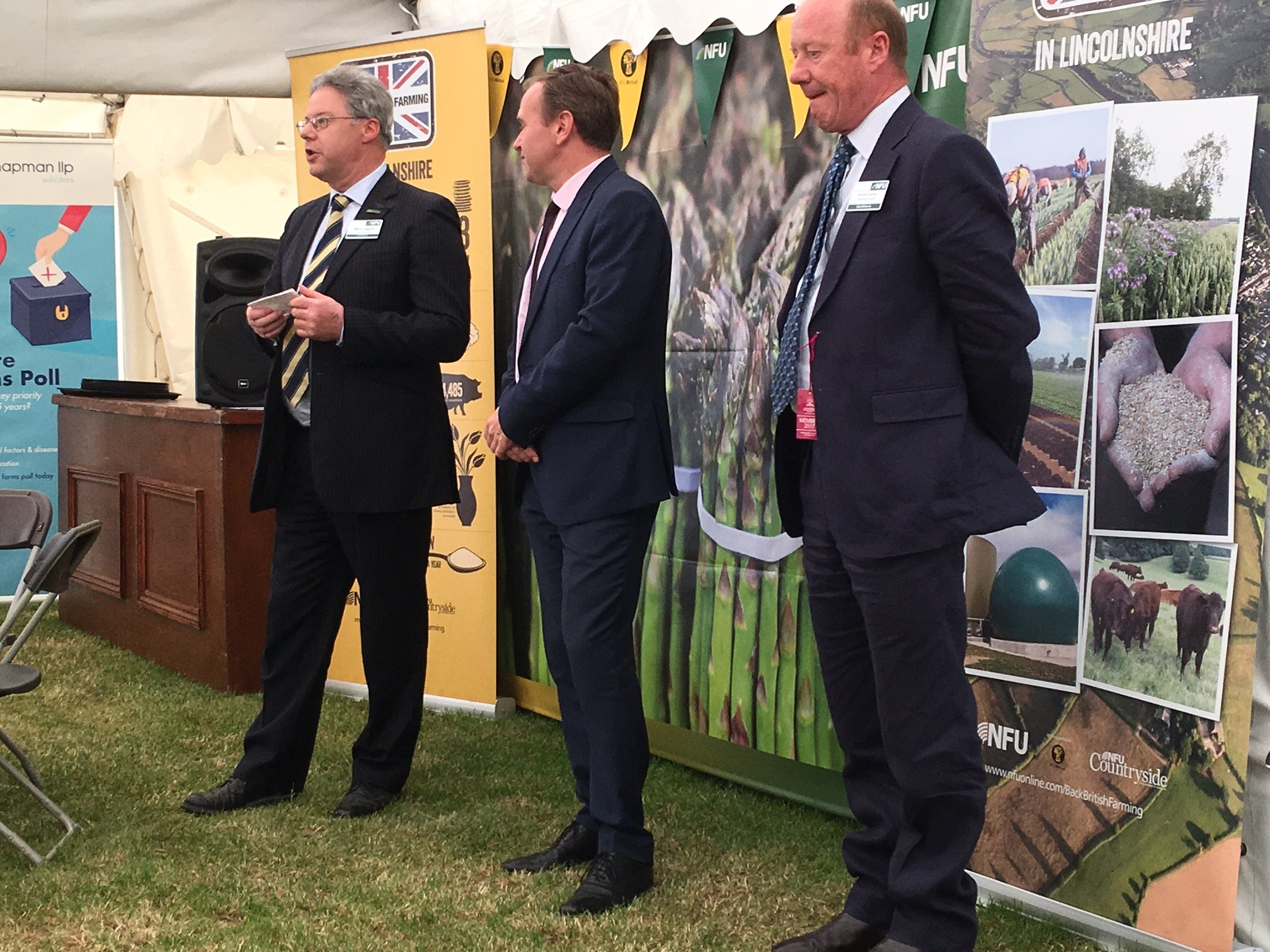 George Eustace, Minister of State at the Department for Environment, Food and Rural Affairs (Defra), in the NFU marquee with Mark Leggott and Gordon Corner